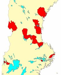 Sverigekarta med några av våra  utförda flyginventeringar
