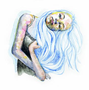 Lutande flicka. Blandteknik på akvarellpapper.