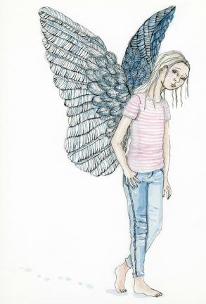 """Illustration till ungdomsboken """"Sms från graven""""."""