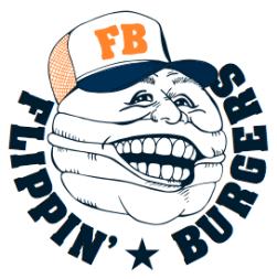 Hamburgerrestaurangen Flippin Burgers gör grymma burgare och ville såklart ha en lika grym logga.