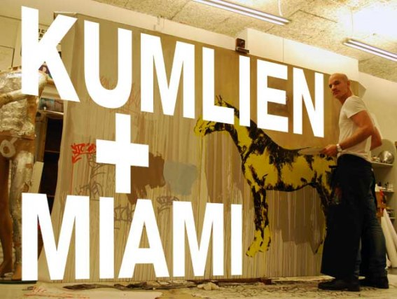 Kumlien at work with one of the pieces featured in Miami right now.