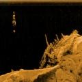 Man wreck. Echogram (sonar art), 50 x 37 cm, Svenska Konstnärsföreningen medlemsutställning 2012. Anders Kumlien