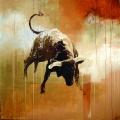 Miura Bull. 200 x 200 cm oil on canvas. Anders Kumlien 2006.