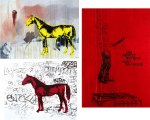 Yellow horse print, 43 x 53 cm. Kitchen confidence 37 x 60 cm. Red horse 42 xin 50 cm. (the red areas appear blurry on screen but that is just a conflict between lowres jpgs and the deepred colour)