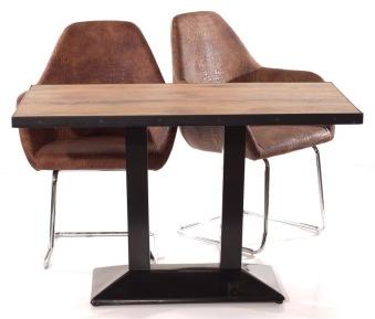 Sherman II - Skiva: Rim 70x120 cm.  Stol: Bowl med Svikt