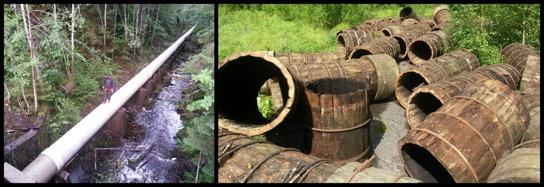 Delar av de nya rören (vänster) och några av de gamla rören (höger)