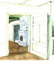 Interiör - akvarell KKH 1990
