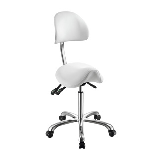 Arbetsstol NOBLE Pall Sadelpall med ryggstöd vit, svart eller grå - Arbetstol Noble i vit