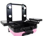 Mobilarbete Minisalon rosa Arbetsväska med med handtag & hjul & Spegel & Belysning & Låsbar  Make Up board Kosmetikbord
