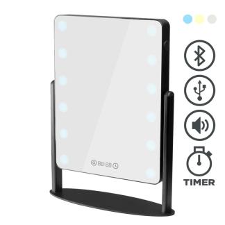 Bordsspegel med Belysning (3 färger), USB port, Bluetooth, digital clock - Bordsspegel med Belysning, USB port, Bluetooth, digital clock