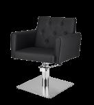Frisörstol Belle X i svart med kvadratisk fot