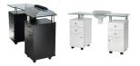 Nagelbord  LEON i svart eller vit med Vaccuum & Armstöd & Hjul