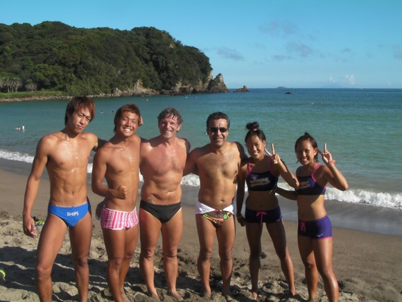 With Steve Munatones and some of the lifeguards at Yumigahama beach 2011