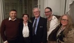 Från vänster: Peter Helander, Riksdagsledamot, Ylva Thörn, Landshövding Dalarnas län, Björn Eriksson, Ordförande Riksidrottsförbundet, och så vi! Foto: Henrik Mases