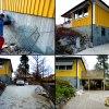 Husgrunden kläs med naturskiffer, markstenläggning på garageuppfart och ev. även byggnation av altan.