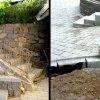 Stenläggning i garageuppfarten och en stentrappa samt en stödmur