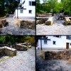 Anläggning av stödmur och natursten/sprängsten.