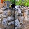 Stödmur av natursten ( Naturstenmur, sprängsten )