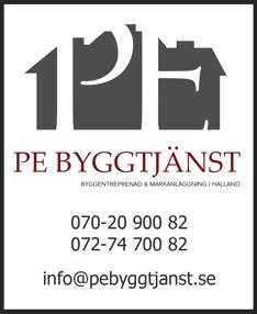 Kontaktuppgifter & telefon till byggentreprenör PE Byggtjänst i Falkenberg, Halland