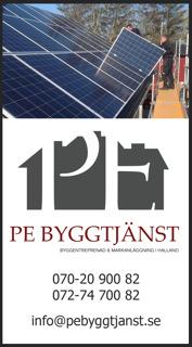Solceller - certifierad montör av Schletters Solar Mountain Systems PE Byggtjänst i Falkenberg montörer av solceller. Monterar solceller i Halland, Västra Götaland, Göteborg, Halmstad, Varberg, Kungsbacka, Laholm även Skåne