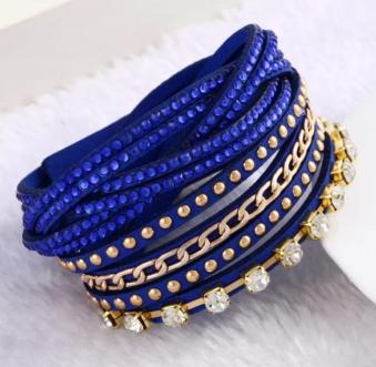 Läderarmband med det lilla extra - Blå med mörkblå strass