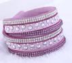 Läderarmband med strass & silverdetaljer - Gamalrosa armband med strass och silverdetaljer