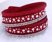 Läderarmband med strass & silverdetaljer - Mörkrött armband med strass och silver detaljer