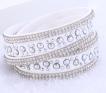 Läderarmband med strass & silverdetaljer - Vitt armband med strass och silver detaljer