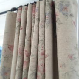 Tjocka handsydda gardiner med mörkläggning, tyg grån Ralph Lauren Home