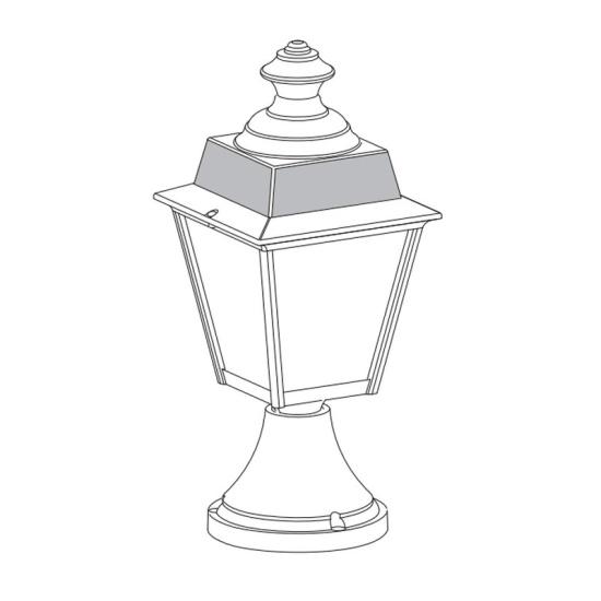 Klassisk utomhusbelysning - Kollektion Chenonceau - Modell 1, grindstolpar kort - hos Alegni Interiors Stockholm