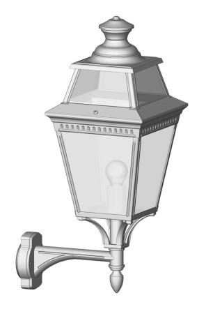 Klassisk utomhusbelysning - Kollektion Place des Vosges 3 - Modell 4, rak stående arm - hos Alegni Interiors Stockholm