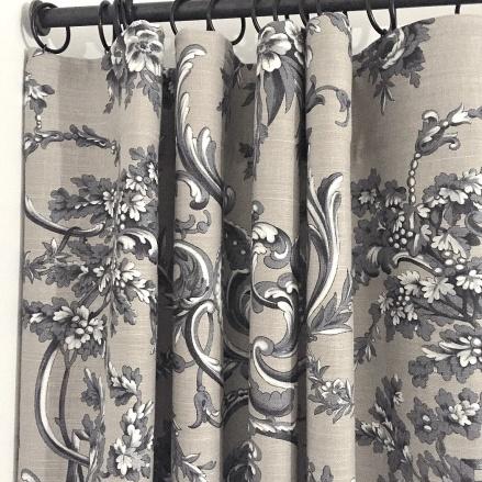 Fodrade gardiner i linnetyg, tyg manuek Canovas -  Inredning - Alegni  Design Interiors Stockholm