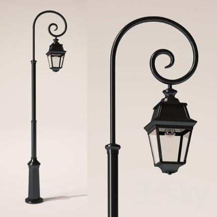 Klassisk utebelysning - Kollektion Avenue 2 - Modell 8, lyktstolpe med svängd arm - hos  Alegni Interiors Stockholm