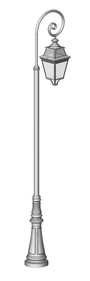 Klassisk utomhusbelysning - Lyktstolpe svängd arm - Kollektion Place des Vosges 3 - Modell 10 - hos Alegni Interiors Stockholm