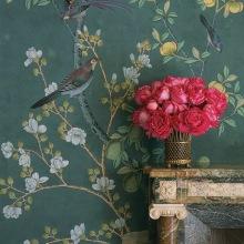 45. 'Jardinieres Citrus Trees' design in standard design colours on custom blue green Williamsburg painted silk. Interior design by Charlotte Moss