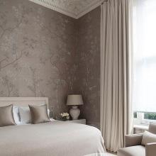 'Portobello' design In full custom monochromatic design colours on Lead Grey Dyed Silk. Interior design by Todhunter Earle Interiors.