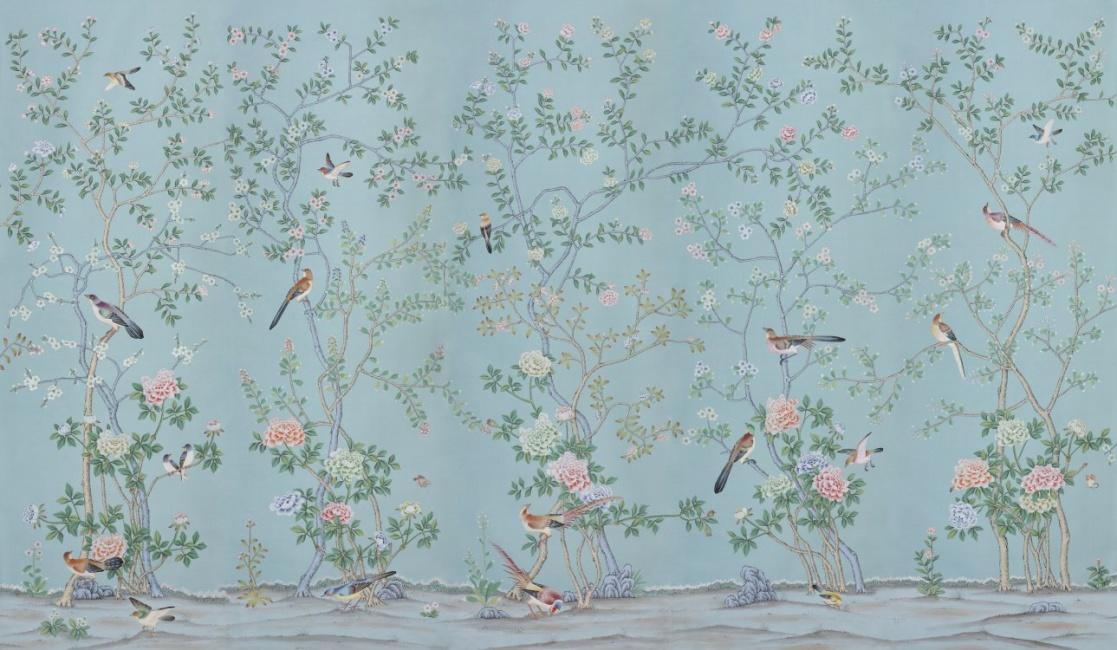 Handmålade tapeter - Kollektion Earlham av de Gournay - hos Alegni Interiors, Stockholm