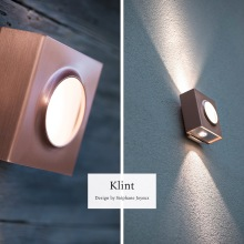 Utebelysning för fasad - Up & down light - Kollektion Klint, i koppar - Husnummer - beställ hos Alegni Design Interiors, Stockholm