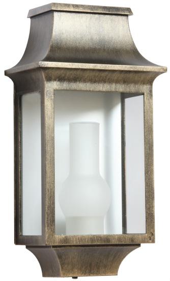 Klassisk utebelysning - Kollektion Louis Philippe - Modell 7, väggapplik i patinerad guld - hos Alegni Interiors Stockholm