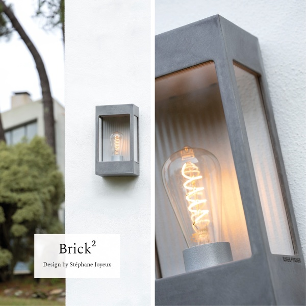 Modern fasadbelysning i rå zink - Kollektion Brick  - by Roger Pradier - hos Alegni Design Interiors