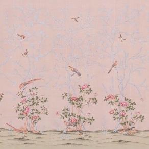 Handmålade tapet - kollektion Gentleman's Pink - Design de Gournay - beställ hos Alegni Interiors Stockholm