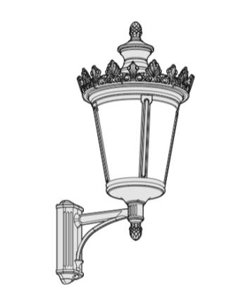 Utomhusbelysning - Kollektion Louvre  - Modell 5, vägg stående arm - hos Alegni Interiors Stockholm
