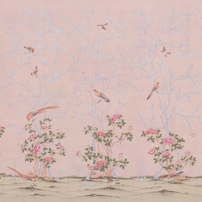 Handmålade tapeter - kollektion Gentleman's Pink - Design de Gournay - beställ hos Alegni Interiors Stockholm