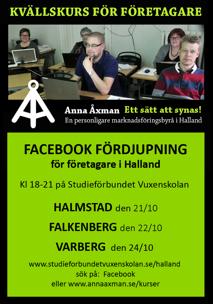 Kvällskurs Facebook fördjupning för företag i Halland, Varberg, Halmstad & Falkenberg - kursledare Anna Åxman på Studieförbundet Vuxenskolan Halland