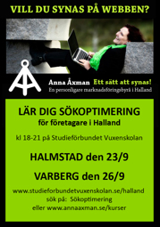 Lär dig sökoptimering - kurs i SEO sökmotorsoptimering för företag i Halland på Studieförbundet Vuxenskolan i Halmstad & Varberg. Kursledare Anna Åxman