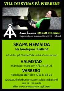 Lurs i att skapa användar & sökmotorsvänlig hemsida på Studieförbundet Vuxenskolan Halland, Halmstad & Varberg - kursledare Anna Åxman