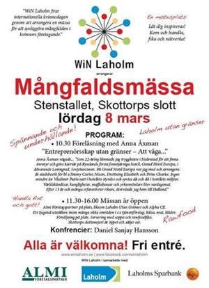 Anna Åxman  föreläser på Mångfaldsmässan i Laholm om Entreprenörsskap utan gränser - vikten av att våga!