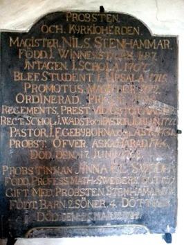 Minnestavla i sakristian i Ekebyborna kyrka. Foto Emil Stenhammar 2014