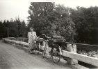 Min farmor,Alfhild på väg till Nybro,kortet taget i början av 60-talet