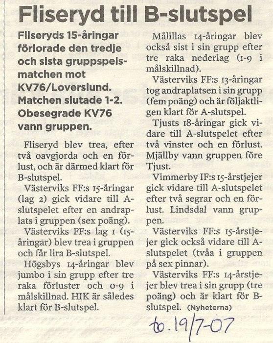 Artikel tagen ur Nyheterna,19/7-07
